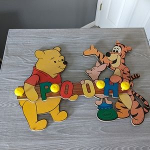 Vintage Winne the Pooh Wall Hanging with Coat Hook